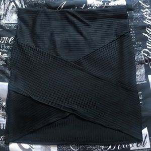 Black Striped Body Con Skirt